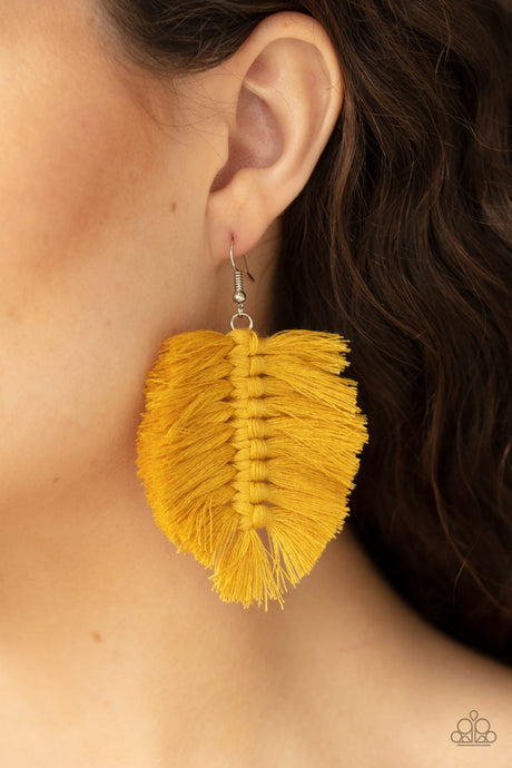 Paparazzi Accessories Knotted Native Yellow Earrings