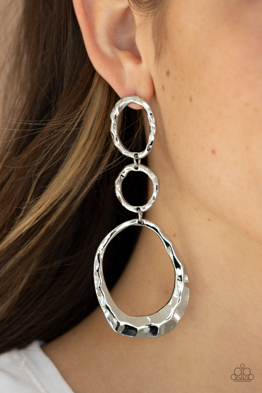Paparazzi Accessories Radically Rippled - Silver Earrings - Lady T Accessories