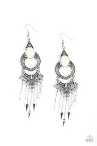 Paparazzi Accessories Southern Spearhead - White Earrings - Lady T Accessories