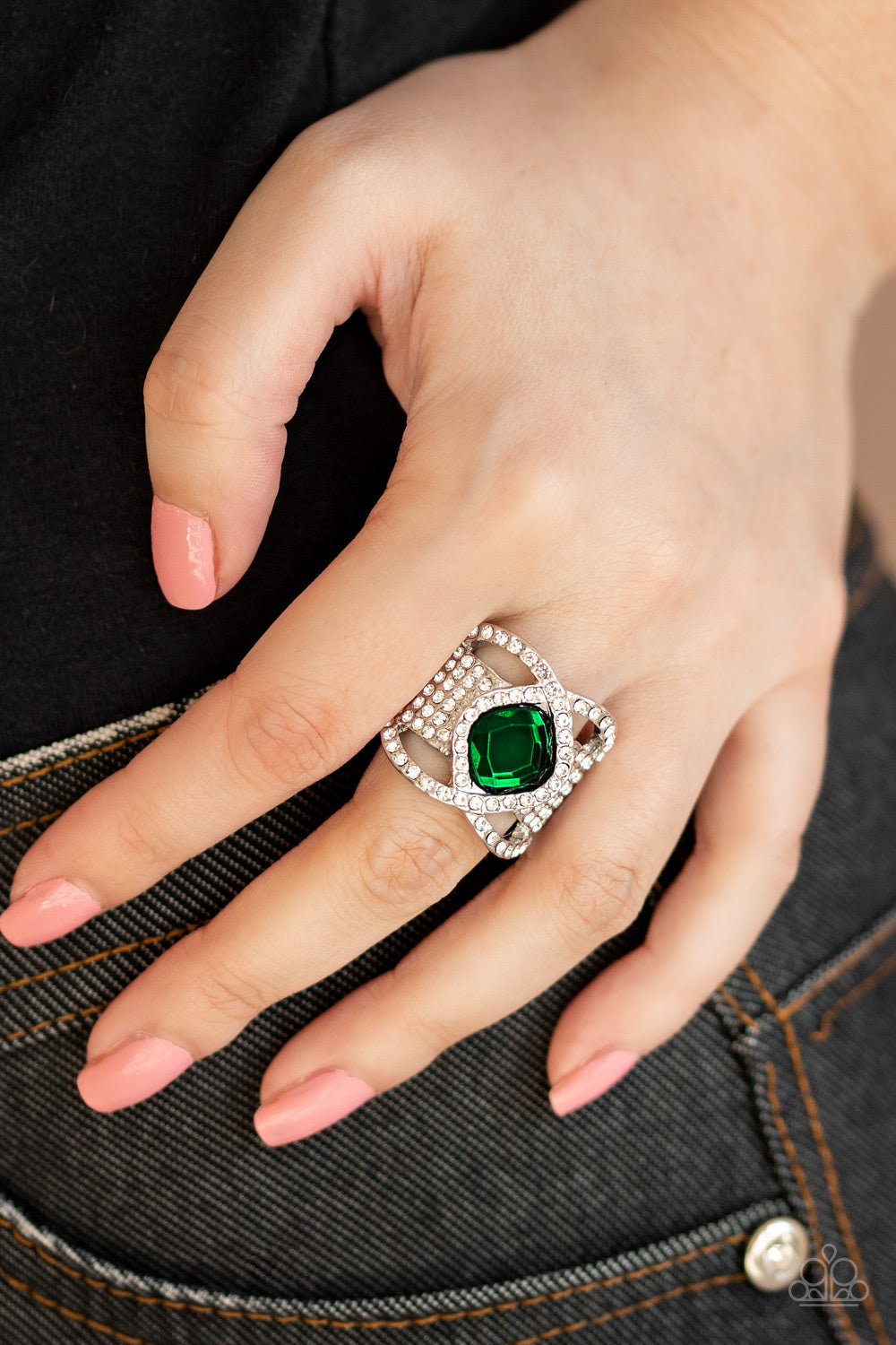 Paparazzi Accessories Triple Crown Twinkle - Green Rings - Lady T Accessories