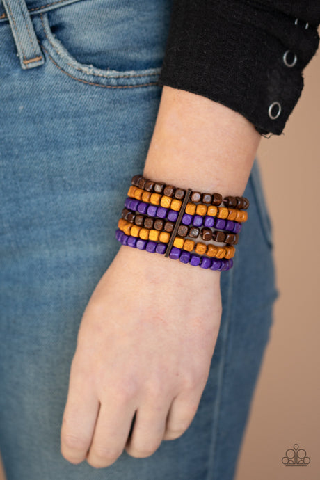 Paparazzi Accessories Tropical Tundra Purple Wooden Bracelets