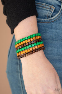 Paparazzi Accessories Tropical Tundra - Green Wood Bracelets