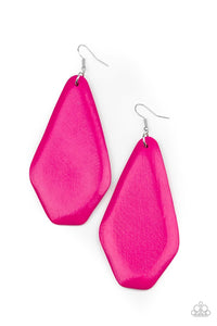 Paparazzi Accessories Vacation Ready - Pink Wood Earrings - Lady T Accessories