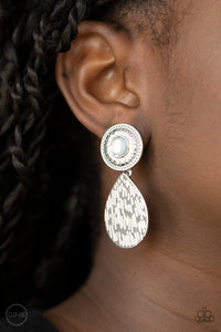 Paparazzi Accessories Emblazoned Edge - White Clip-on Earrings