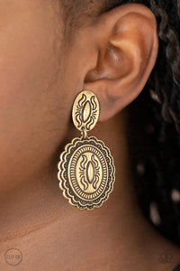 Paparazzi Accessories Ageless Artifacts - Brass Clip-On Earrings - Lady T Accessories