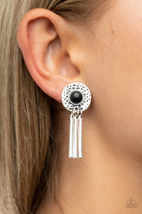 Paparazzi Accessories Desert Amulet - Black Clip-on Earrings