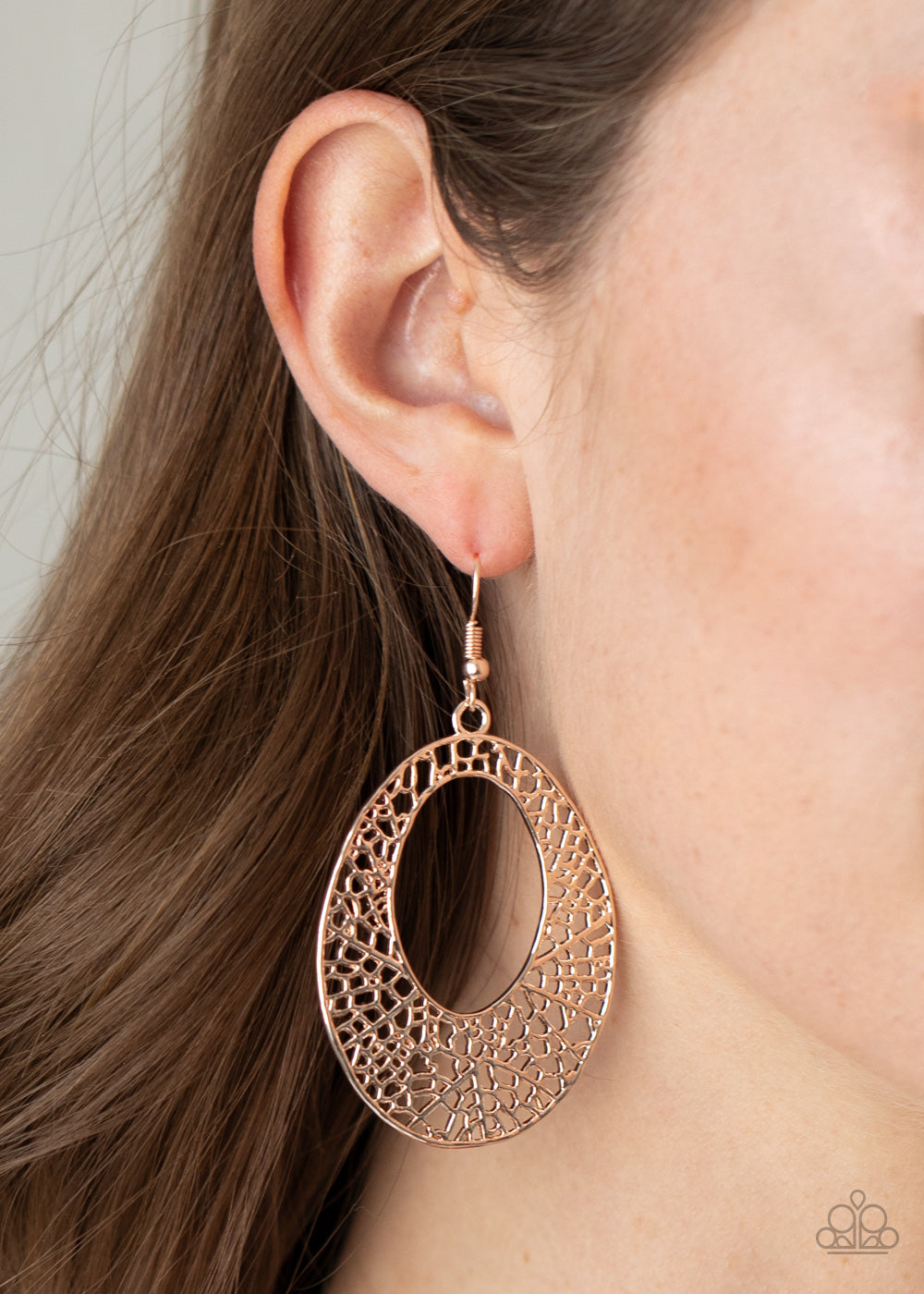 Paparazzi Accessories Serenely Shattered - Rose Gold Earrings