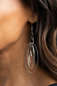 Paparazzi Accessories Oval the Moon - Silver Earrings - Lady T Accessories