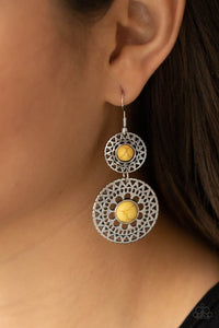Paparazzi Accessories Sunny Sahara - Yellow Earrings - Lady T Accessories