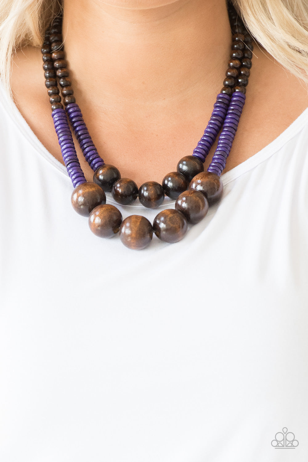 Paparazzi Accessories Cancun Castaway - Purple Wood Necklaces - Lady T Accessories