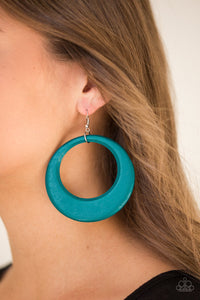 Paparazzi Accessories Modern Malibu Barbie - Blue Wood Earrings - Lady T Accessories