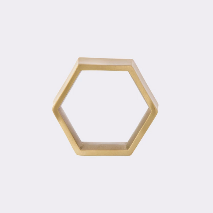 Brass Hexagon Napkin Ring - Set of 2 | Stock