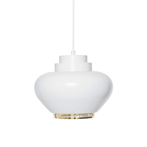 A333 Pendant Lamp White Shade/brass Ring Lighting