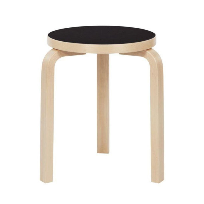 Stool 60 Natural Lacquered / Black Linoleum Edge Birch Furniture