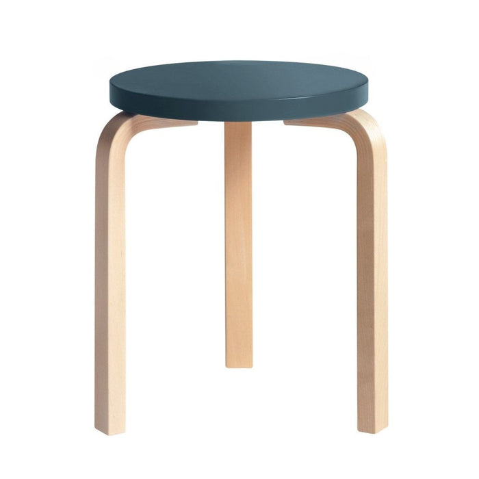 Stool 60 Natural Lacquered / Blue Furniture