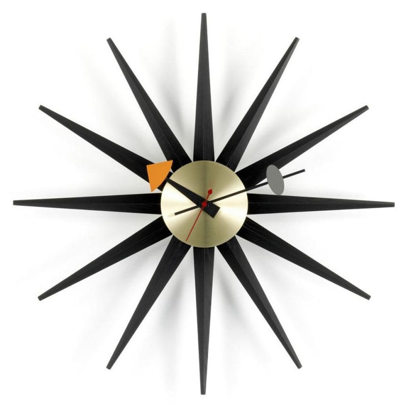 Sunburst Clock Black/brass Home Accessories