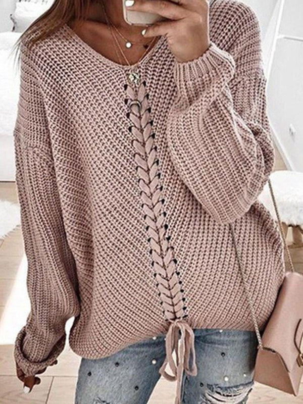 Lace-Up Regular Mid-Length V-Neck Sweater