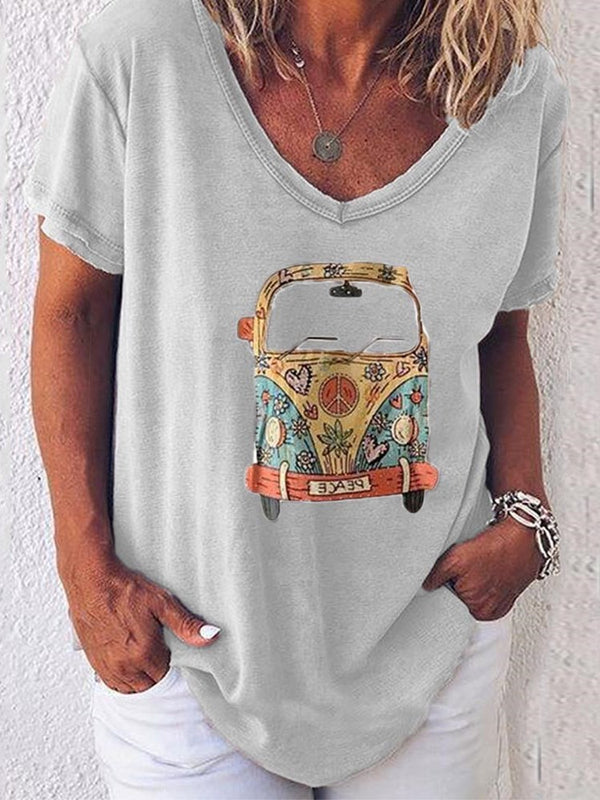 V-Neck Short Sleeve Mid-Length Loose Casual T-Shirt