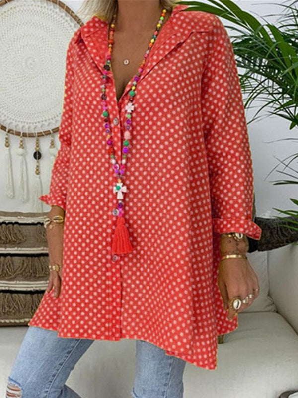 Lapel Print Polka Dots Mid-Length Long Sleeve Blouse