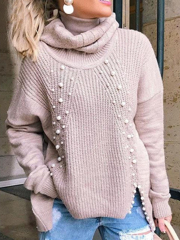 Regular Bead Regular Mid-Length Turtleneck Sweater