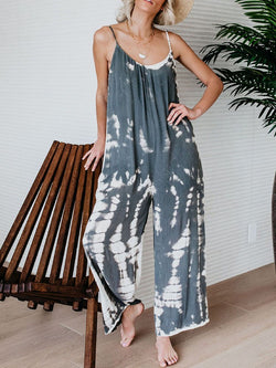 Color Block Strap Full Length Loose Mid Waist Jumpsuit