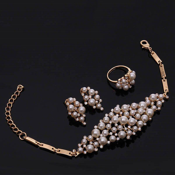 Pearl Inlaid Bracelet Plain Prom Jewelry Sets