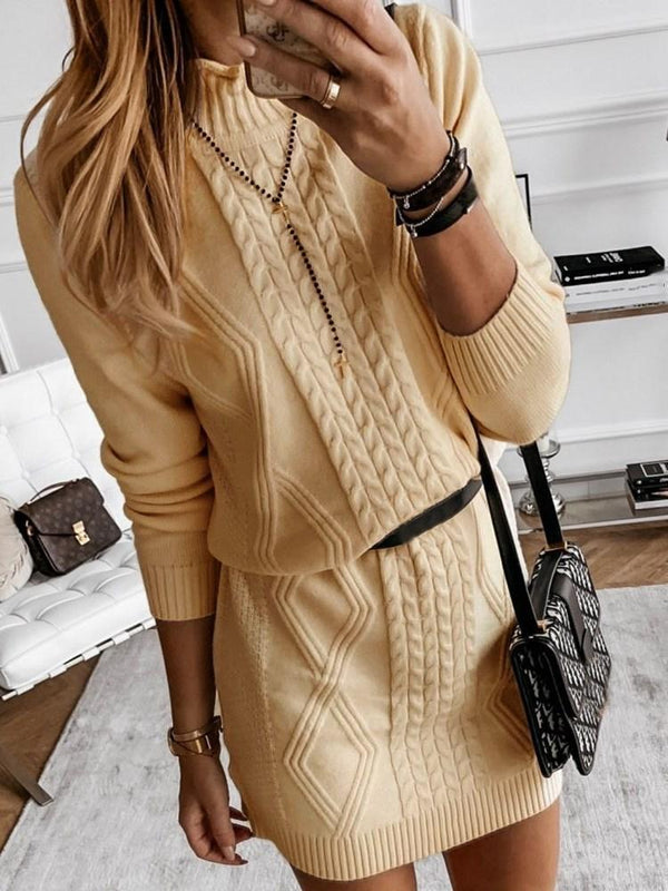 Above Knee Stand Collar Long Sleeve Bodycon Fashion Dress