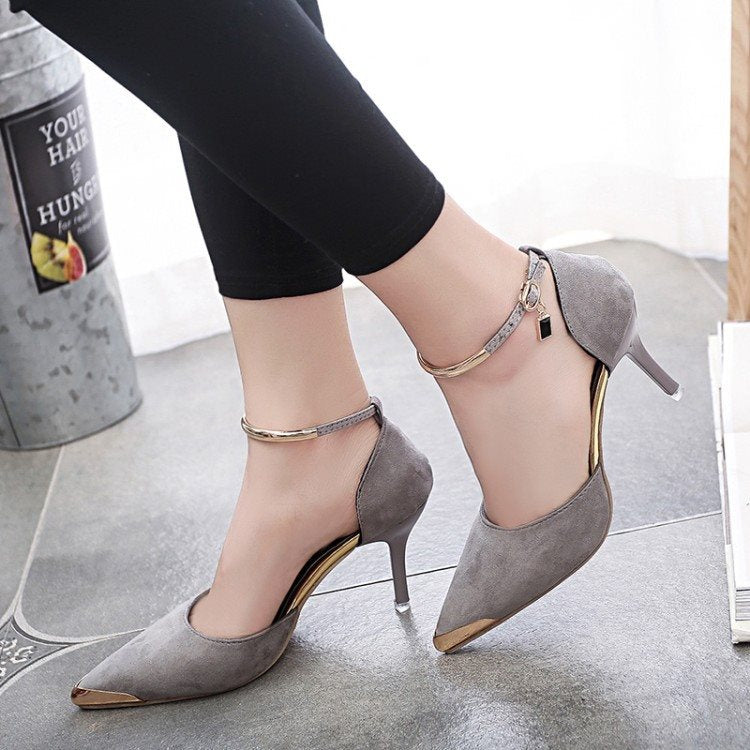 Line-Style Buckle Pointed Toe Sequin Stiletto Heel Plain 8cm Thin Shoes