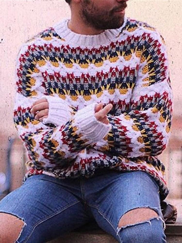 Mid-Length Color Block Winter Casual Sweater