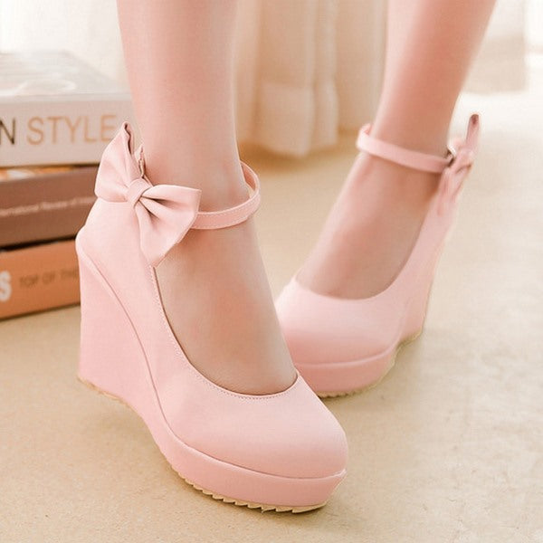 Wedge Heel Bow Round Toe Line-Style Buckle 10cm Sweet Thin Shoes