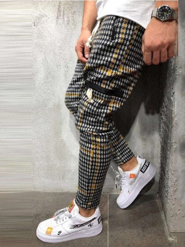 Color Block Patchwork Lace-Up Fall Casual Pants