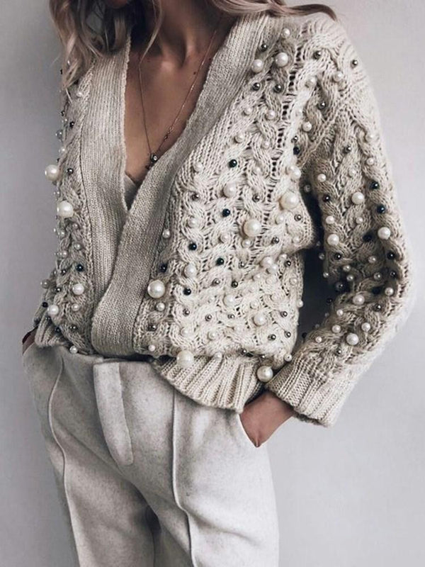 Bead V-Neck Loose Sweater
