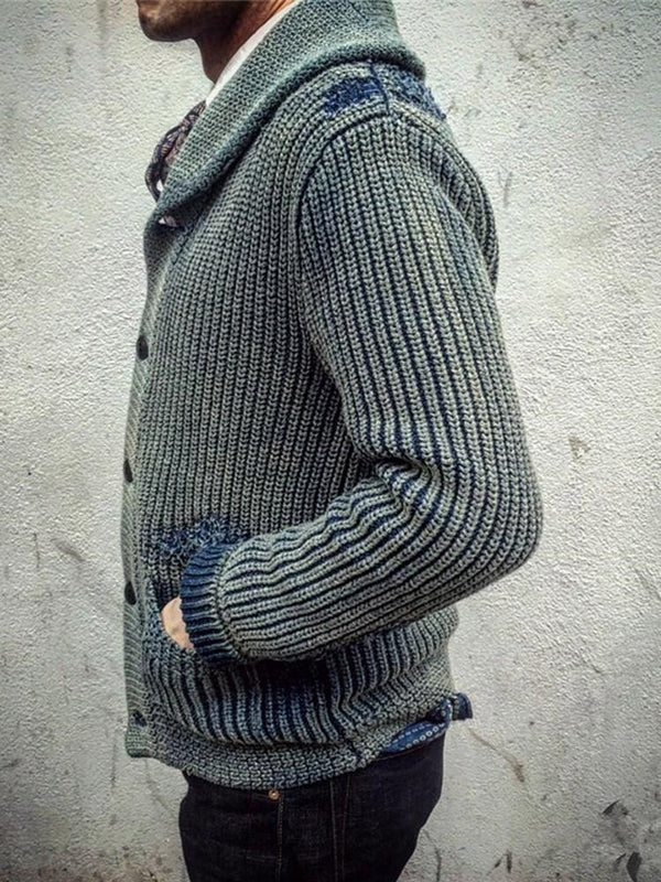 Pocket Standard Color Block Loose Single-Breasted Sweater