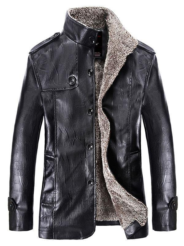 Mid-Length Stand Collar Single-Breasted Winter Leather Jacket