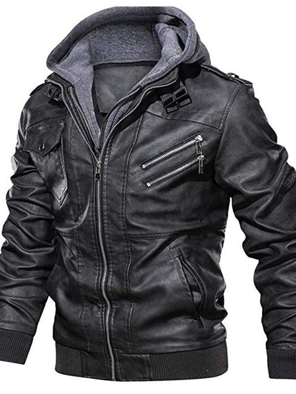 Standard Hooded Casual Zipper Leather Jacket