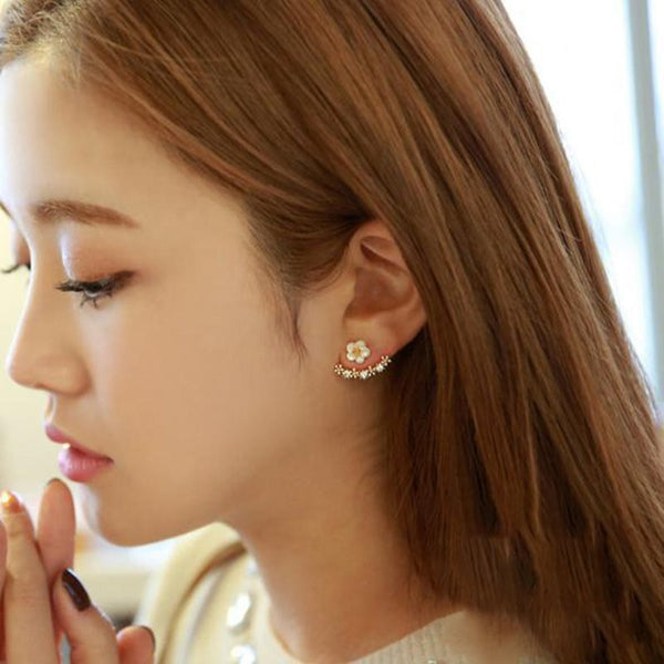 Korean Floral E-Plating Anniversary Earrings
