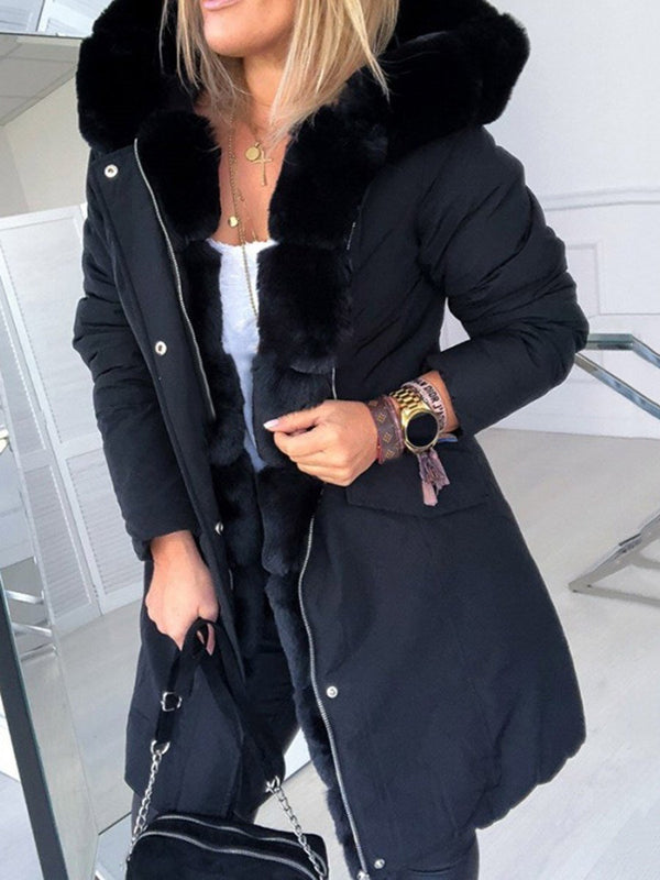 Mid-Length Zipper Hooded Regular Loose Trench Coat