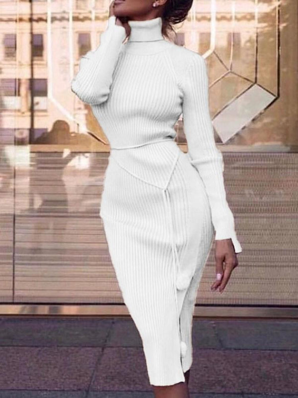 Long Sleeve Mid-Calf Turtleneck Plain Sheath Dress