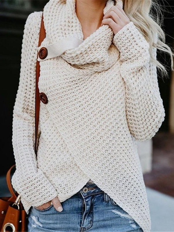 Single-Breasted Long Sleeve Fall Sweater
