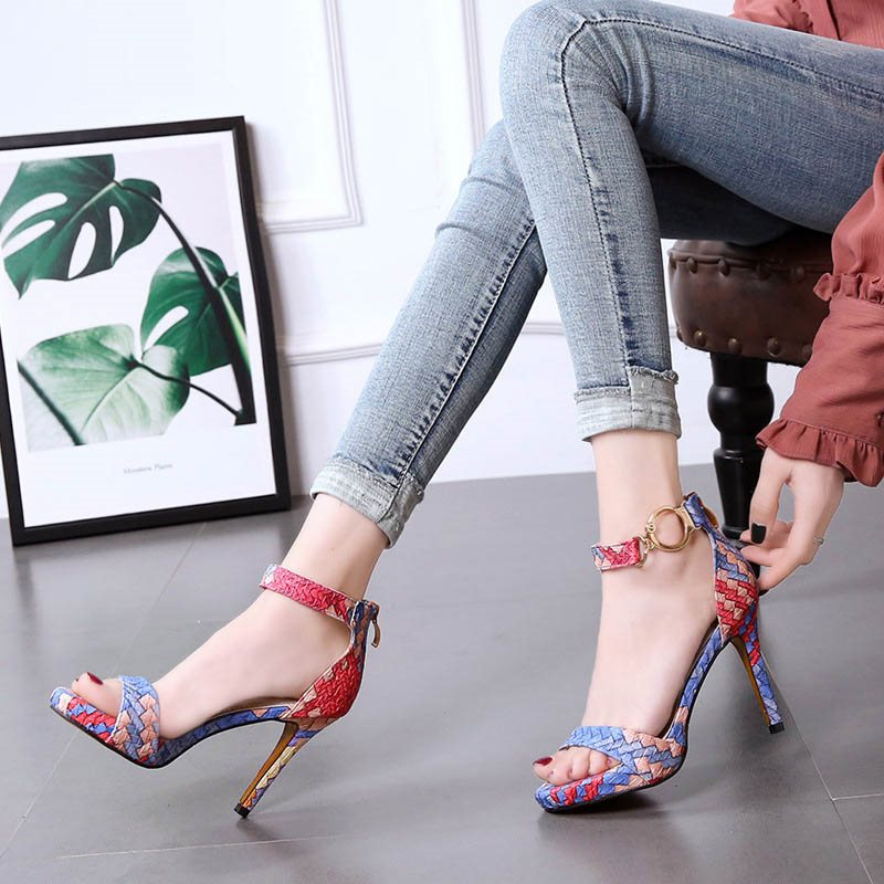 Open Toe Heel Covering Stiletto Heel Line-Style Buckle Casual Woven Sandals