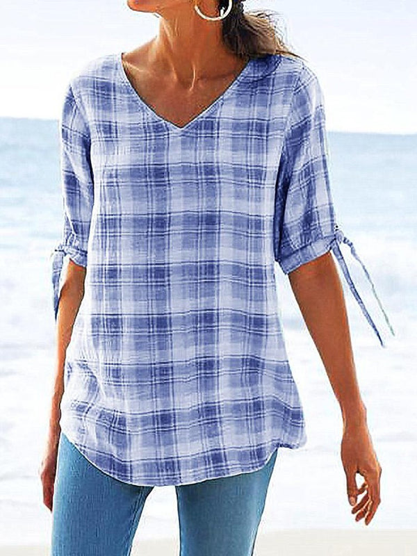 Plaid V-Neck Half Sleeve Mid-Length Blouse
