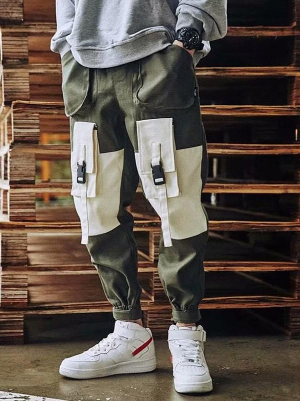 Color Block Overall Lace-Up Casual Mid Waist Casual Pants