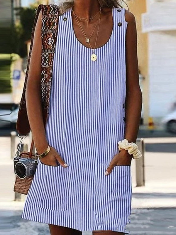 Above Knee Sleeveless Round Neck Summer Pullover Dress