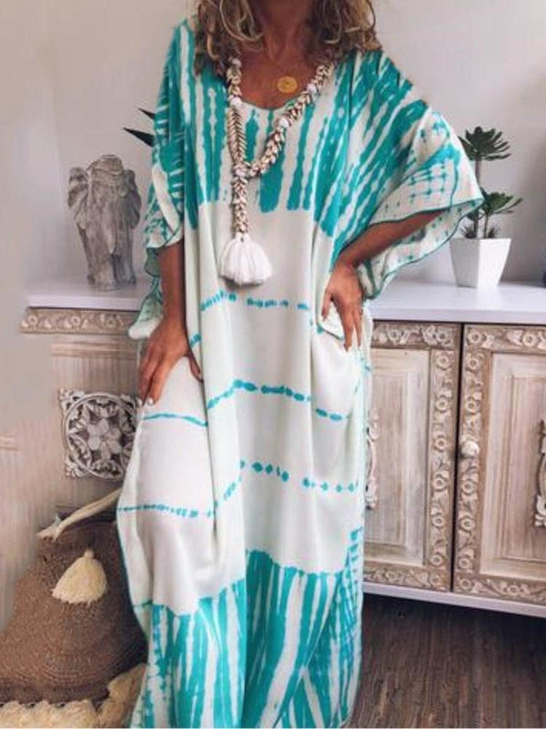 Print Floor-Length Half Sleeve Color Block Pullover Dress