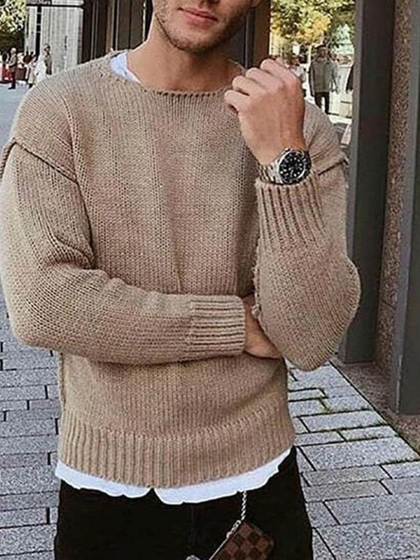 Plain Round Neck Standard Casual Winter Sweater