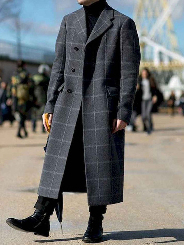 Long Button Color Block Straight Single-Breasted Coat