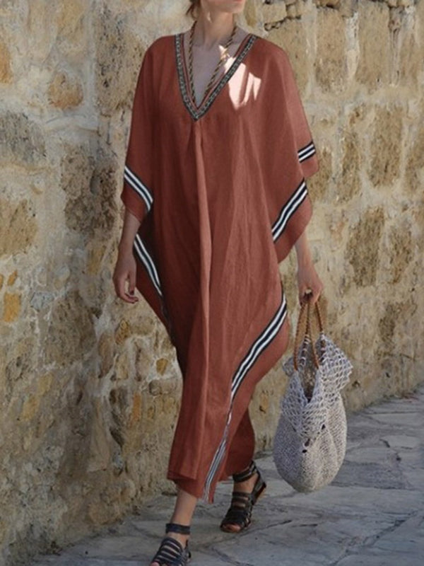 Three-Quarter Sleeve V-Neck Patchwork Travel Look Pullover Dress