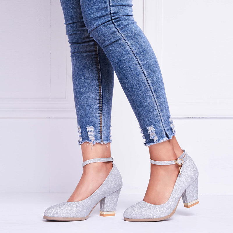 Line-Style Buckle Round Toe Chunky Heel Casual 7cm Thin Shoes