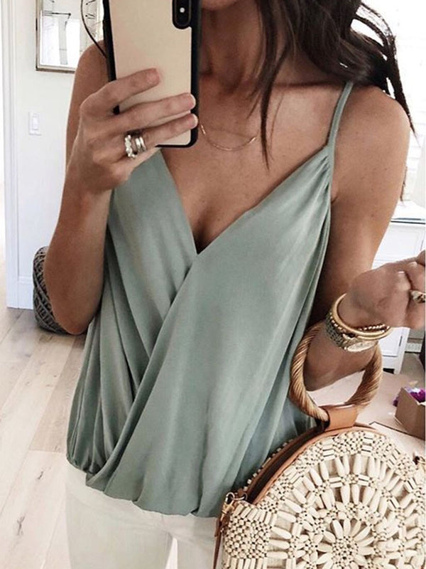 Spaghetti Straps Polyester Pleated Standard Tank Top