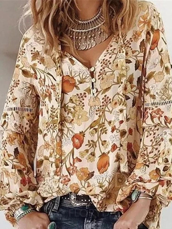 Print Long Sleeve Standard Blouse